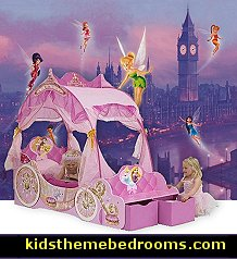 Disney Princess Carriage Toddler Bed, with its pretty four poster canopy, has to be every little girl�s dream bed. This elaborate toddler bed has a detailed carriage design and sparkling LED lights (which also serve as a reassuring night light) and will ensure mini princesses are completely immersed in a magical fantasy world. A bench seat plus two useful fabric storage boxes can be found at the end of this sturdy MDF bed, providing a personal area for little ones where they can read their books and then store them neatly when they�re done. And with it being Disney Princess-themed, going to bed will be your little princess's favourite part of the day!