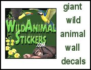 jungle - ocean - theme life size wall stick ups Wild Animal Stickers! Full color, giant wild animal wall decals for the playroom, den, kids rooms, wherever! Create whole jungle scenes or compliment your existing decor. Easy to apply and remove. High-quality artwork, huge selection. walls of the wild critter walls