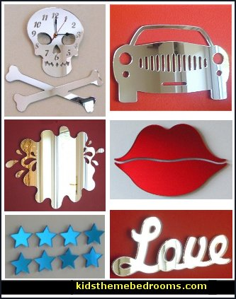 Skull & Crossbones Clock Mirror  - Sports Car Mirror - Red Lips Mirror  - Heart and Crown Mirror  - Welsh Dragon Clock Mirror - Double Decker Mirror. Novelty mirrors-wall decorations-fun themed mirrored clocks
