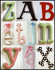 Spell your child's name or a special message with wall Letters. Gingham, polka dot and stripe fabrics in fun colors. Jazz up a door or wall with our whimsical wooden wall letters. Personalize your child's room with our wooden hand painted capital letters. Spell names, words or phrases.